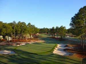 Overlooking a green protected by sand bunkers