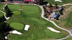 Aerial view of Pinehurst's driving range and clubhouse